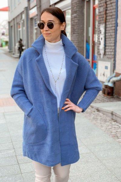 Płaszcz alpaka niebieska 2