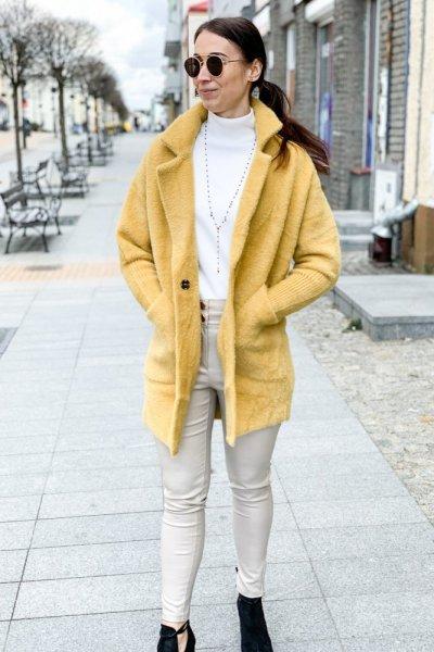 Płaszcz alpaka musztarda 1