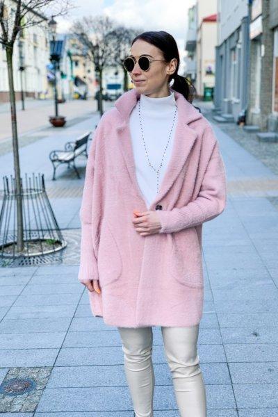 Płaszcz alpaka pudrowy róż