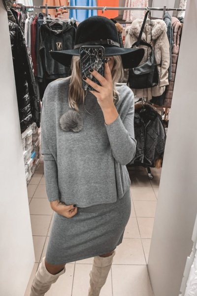 SZARY komplet sukienka z kamizelką