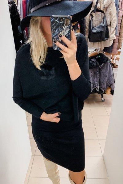 Czarny komplet sukienka z kamizelką
