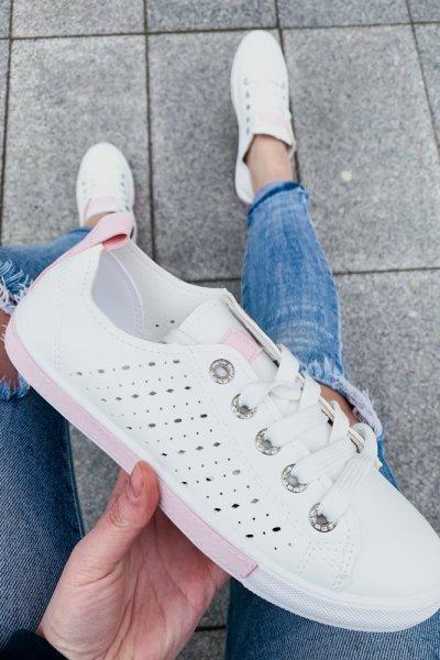 tenisówki biało-różowe